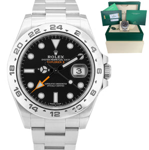 2016 Rolex Explorer II 42mm Black Orange Stainless Steel GMT Date Watch 216570
