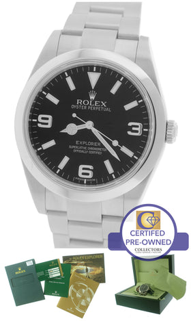 2011 MINT Men's Rolex Explorer I Black 39mm 214270 Stainless Steel Oyster Watch