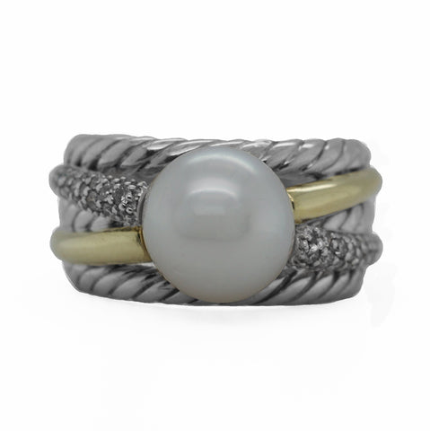 David Yurman Sterling Silver 13.3g 18k Yellow Gold  0.44ct Diamond Pearl Ring