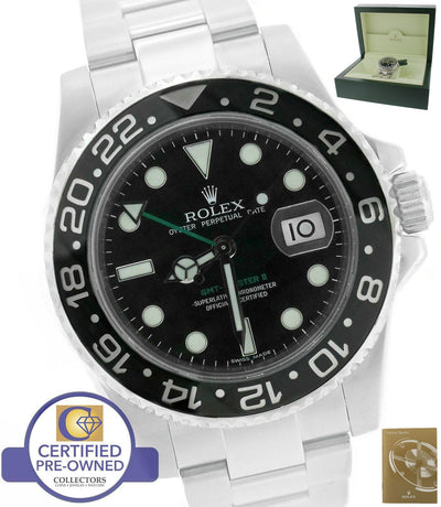 2010 Rolex GMT-Master II Stainless Black Ceramic 116710 N LN 40mm Date Watch