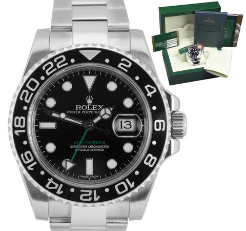 2014 Rolex GMT-Master II Stainless Black 40mm Ceramic 116710 LN Date Watch B+P