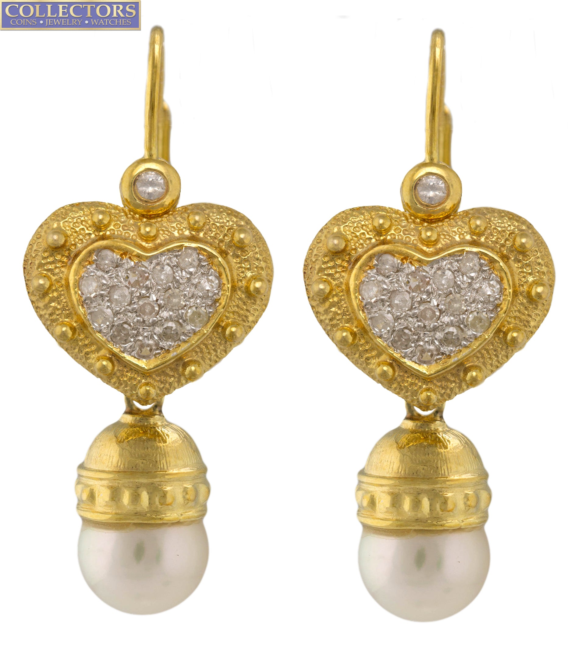 Ladies 14K 585 Yellow Gold 0.62ctw Diamond Heart Pearl Drop Dangle Earrings