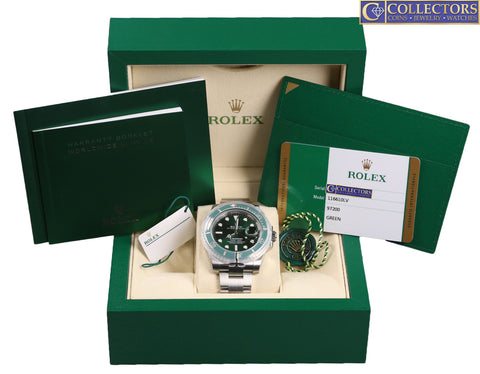 NEW 2018 Rolex Submariner Date Hulk 116610 LV Stainless Green Ceramic 40mm Watch