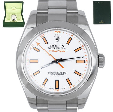 MINT Rolex Milgauss White 40mm Orange 116400 V Stainless Steel Men's Watch