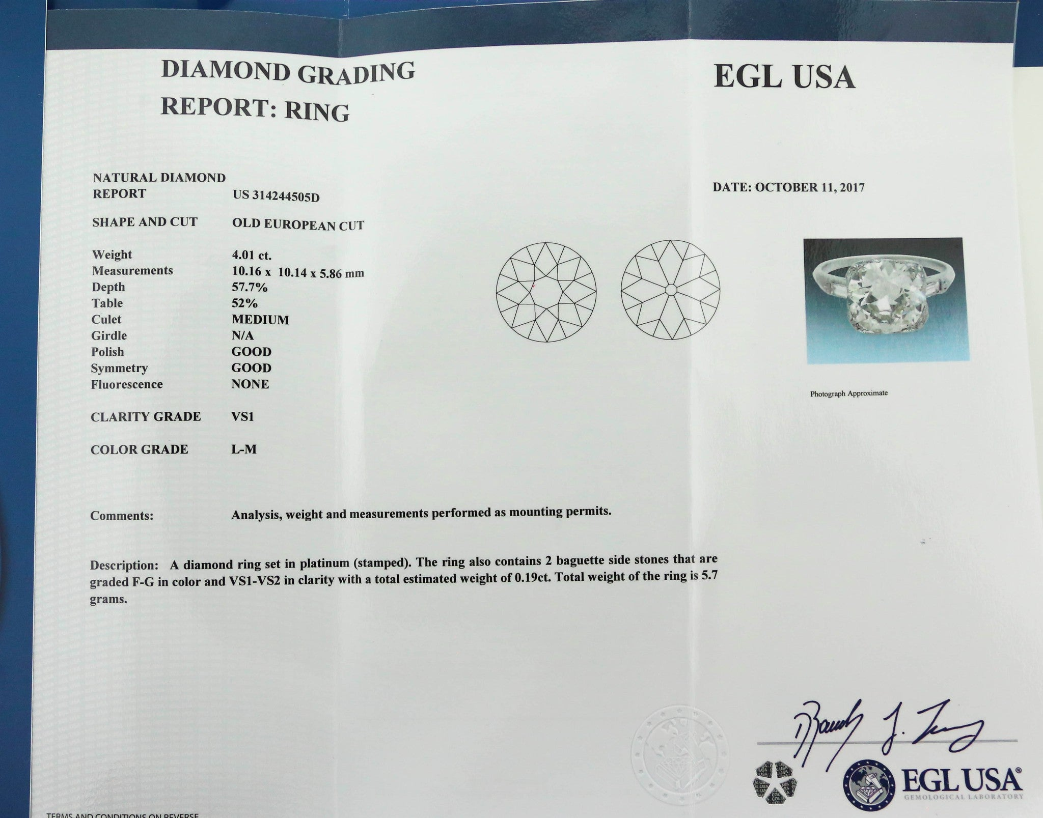 Exquisite Ladies Estate Platinum 4.01ct Diamond Engagement Ring EGL USA