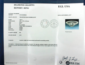 Ladies Art Deco Platinum 1.04ctw Transition Round Diamond Engagement Ring EGL