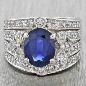 1940s Antique Art Deco 18k WhiteGold 3.48ct Sapphire and Diamond Engagement Ring