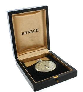 E. Howard Watch Co. Vintage Solid 14k White Gold Pocket Watch Original Box