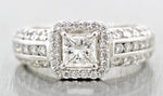 Ladies Modern 14k White Gold 0.71 CT Princess Cut Halo Diamond Engagement Ring