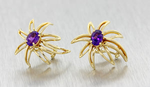 Tiffany & Co 18k Solid Yellow Gold 1.20ctw Amethyst Fireworks Clip On Earrings