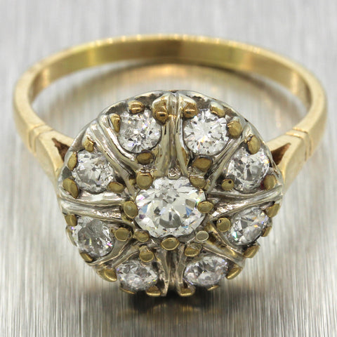1800s Antique Victorian 14k Yellow Gold 1.00ctw H SI1 Diamond Cluster Halo Ring