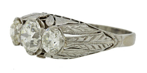 1920s Art Deco 1.73ctw H VS1 Diamond Platinum Engagement Anniversary Ring $13810