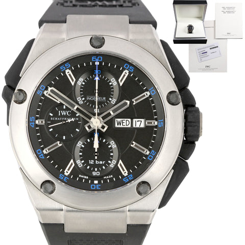IWC Ingenieur Double Chronograph Blue 45.5mm Titanium Watch IW376501 3765-01