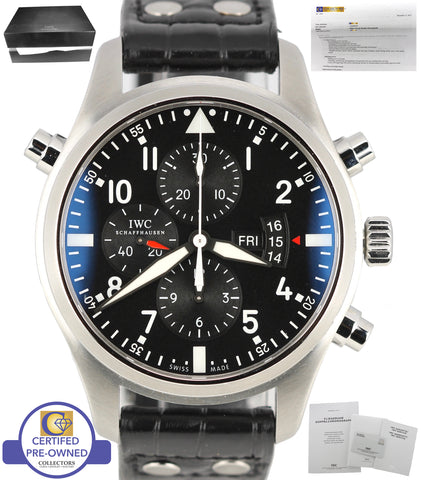 2017 SERVICED IWC Double Chronograph Pilot Black 46mm IW377801 3778 Steel Watch