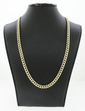 "Men's Modern 10k Solid Yellow Gold 22"" 14.3g Curb Link Chain"