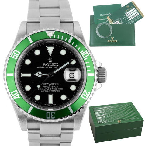 2010 NOS Rolex Submariner V SERIAL UNPOLISHED Kermit Anniversary 16610 LV Watch