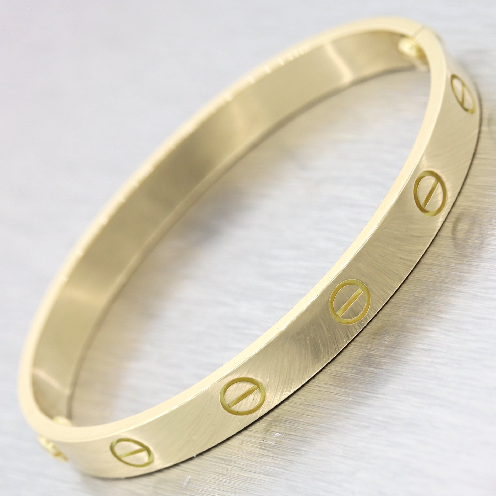 2006 Cartier 18k Yellow Gold Old Style Love Bangle Bracelet Sz 16 BP