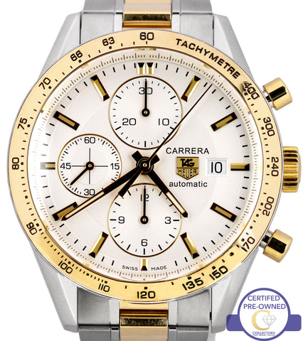 Tag Heuer Carrera Chronograph CV2050 Automatic White 41mm Two Tone Steel Watch