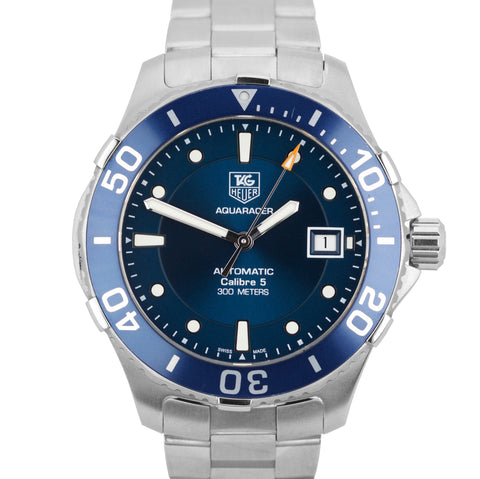Tag Heuer Aquaracer Calibre 5 Stainless Steel Blue Automatic 40mm Watch WAN2111