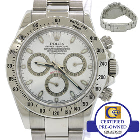 MINT Rolex Daytona 116520 Engraved Steel White Chronograph Cosmograph 40mm Watch