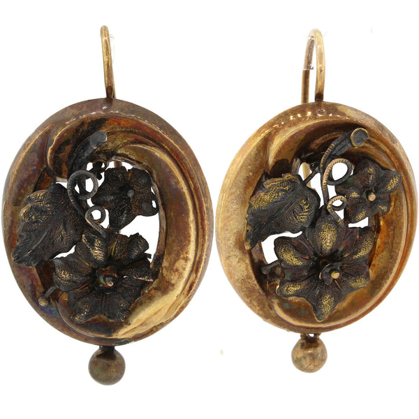 1870s Antique Victorian Estate 14k Solid Yellow Gold Carved Flower Earrings