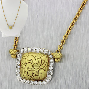 MDVIAN Designer Vintage Estate 18k Yellow Gold .55ctw Diamond Pendant Necklace