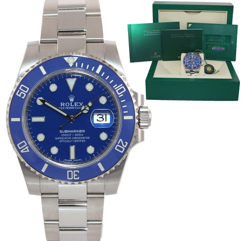 2020 BRAND NEW PAPERS Rolex Submariner Blue Smurf 116619 White Gold Watch Box