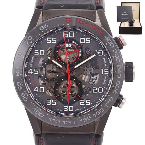 MINT TAG Heuer Chronograph Carrera 01 Calibre CAR2A1H Black PVD 45mm Date Watch