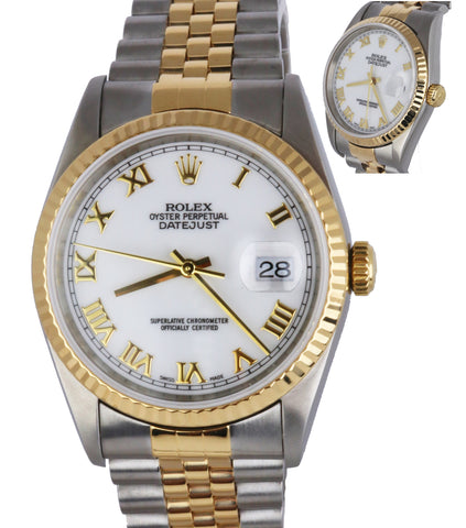 1995 Rolex DateJust 16233 36mm Two Tone Gold White Roman Jubilee No Holes Watch