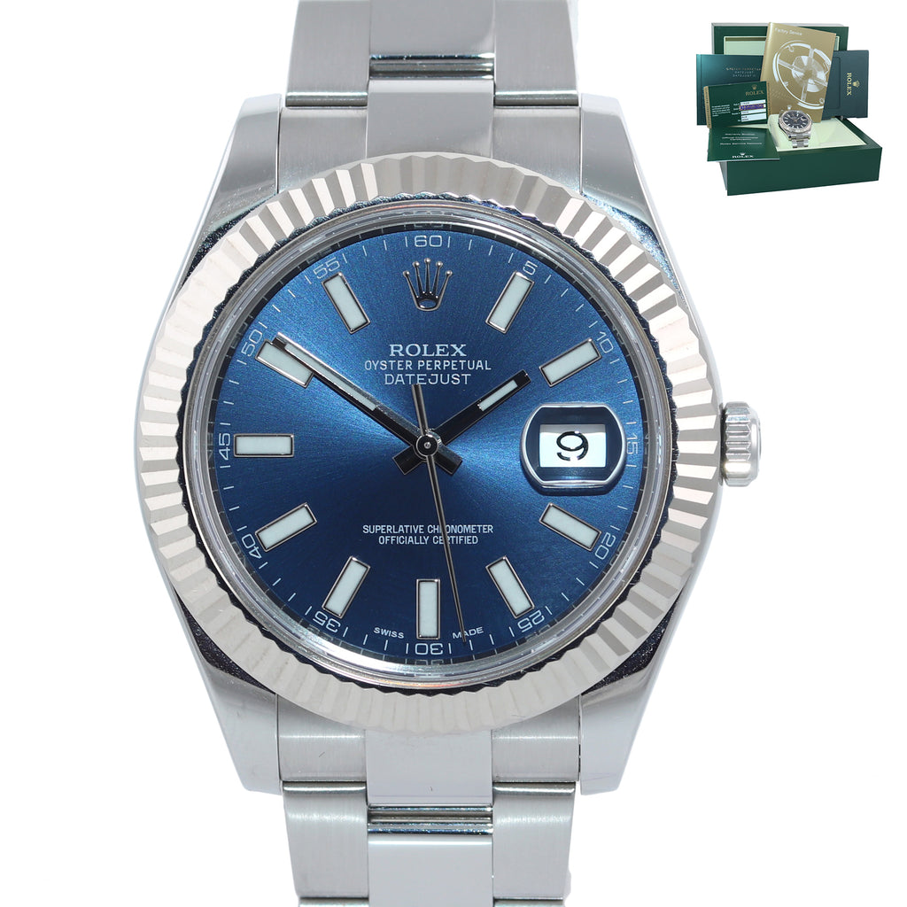 PAPERS Rolex Datejust 2 Blue Stick 41mm 18k White Gold Fluted Steel 116334 Watch