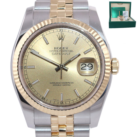 2017 PAPERS Rolex DateJust Jubilee 36mm Champ 116233 18k Gold Two Tone Watch