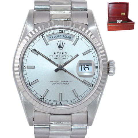 Rolex Day-Date President 18239 18K White Gold double quickset 36mm Silver Watch
