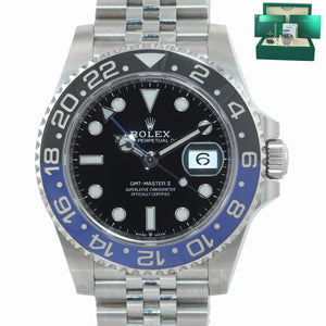 2019 NEW PAPERS Rolex GMT Master Batman Black Blue Jubilee Ceramic 126710 Watch