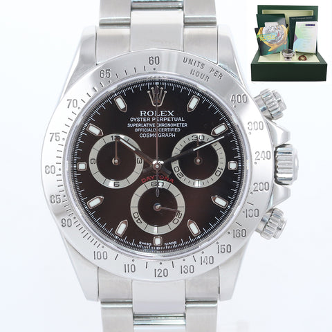 PAPERS Rolex Daytona Cosmograph 116520 Black Steel Chronograph Watch Box