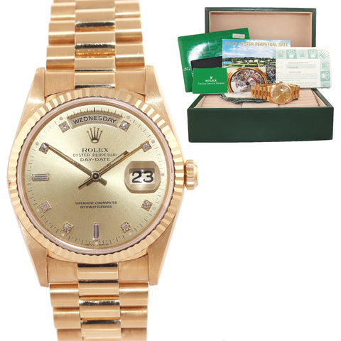 NOS PAPERS Rolex President Champagne Diamond Double Quick Gold Watch 18238