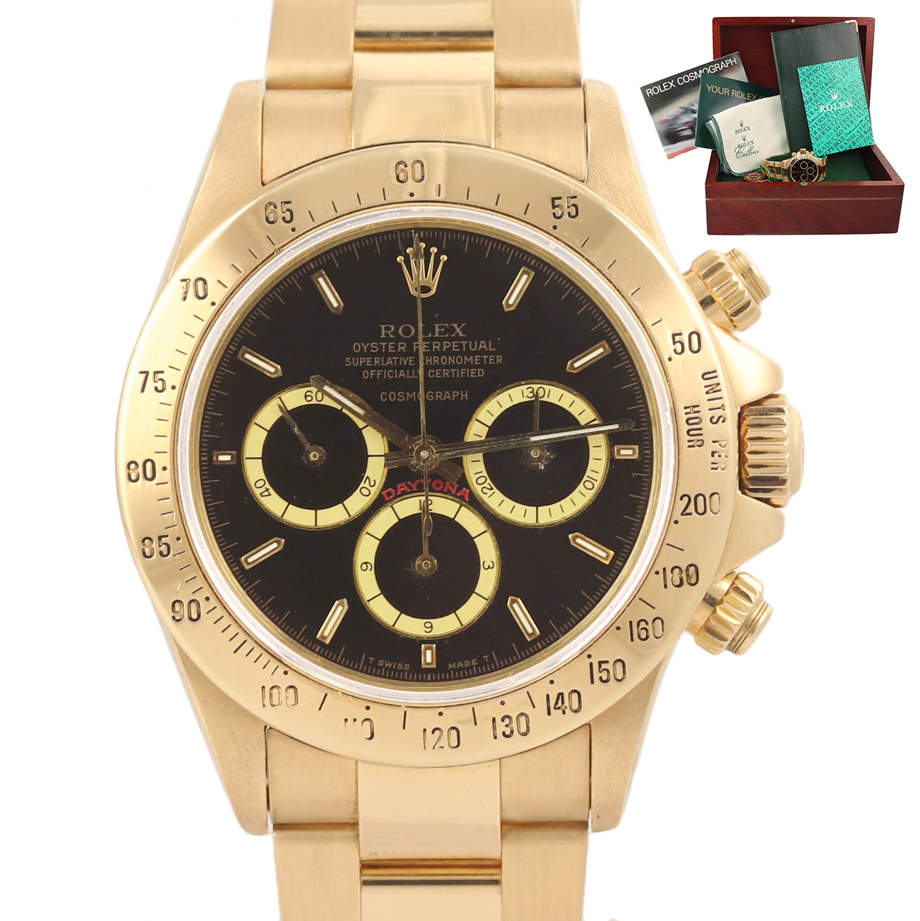 Rolex Daytona 16528 Zenith R Black Floating Cosmograph Inverted 6 Gold Watch