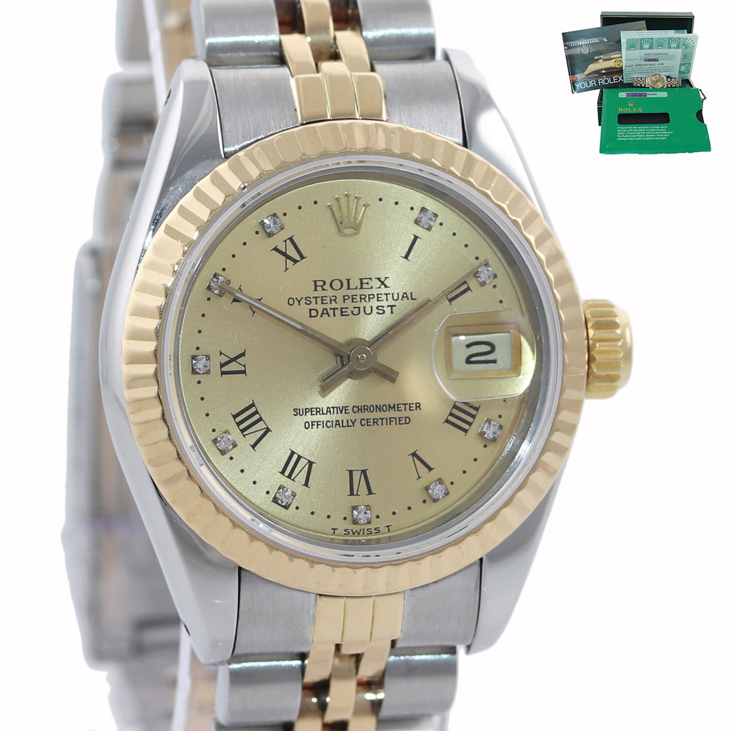 PAPERS Ladies Rolex 67193 Two Tone 18k Gold 26mm Champagne Diamond Watch