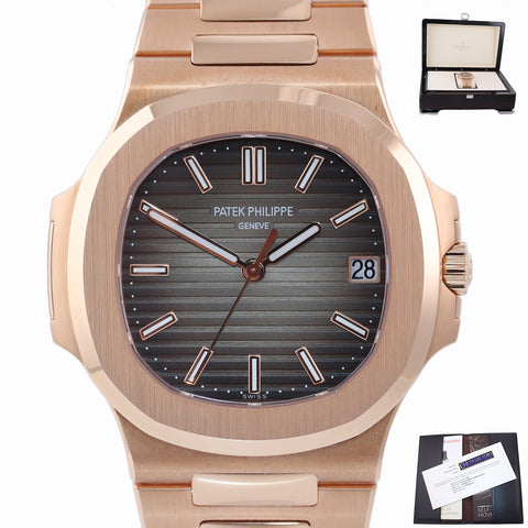 MINT 2018 PAPERS 5711R Patek Philippe Nautilus Rose Gold 40m Brown Watch Box