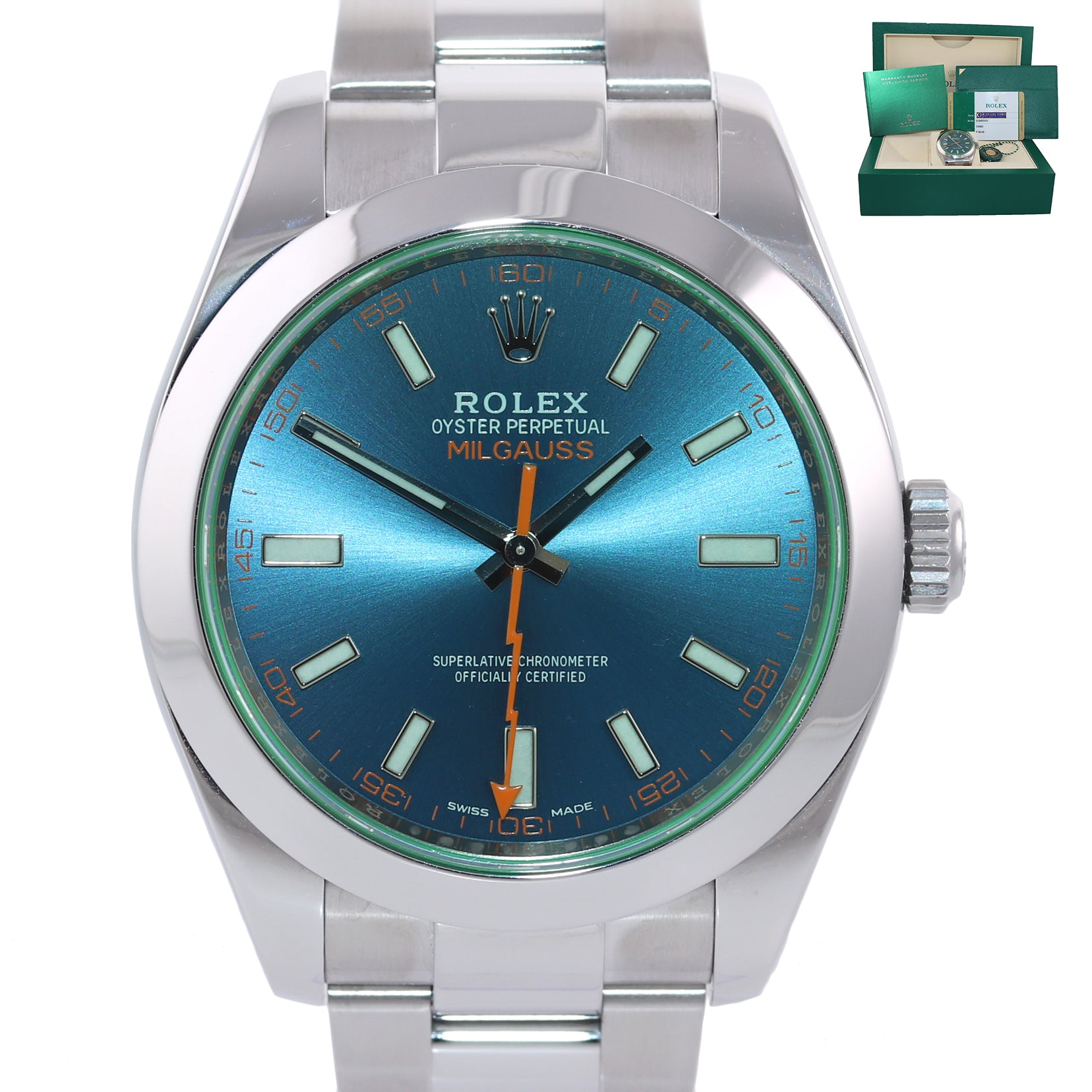 2018 PAPERS Rolex Milgauss Blue Dial Anniversary Green 116400GV Steel Watch