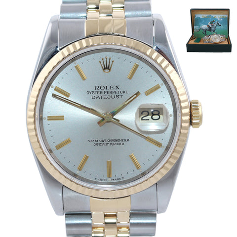 Rolex DateJust 36mm 16233 Two Tone 18k Gold Steel Jubilee Champagne Watch Box