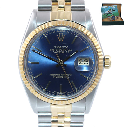 Blue Rolex DateJust 16013 two tone 18k Yellow Gold Steel Fluted Jubilee Watch Bo