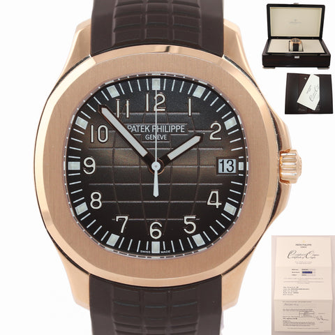 2016 PAPERS 5167R Patek Philippe Aquanaut Rose Gold Brown 40mm Tropical Watch