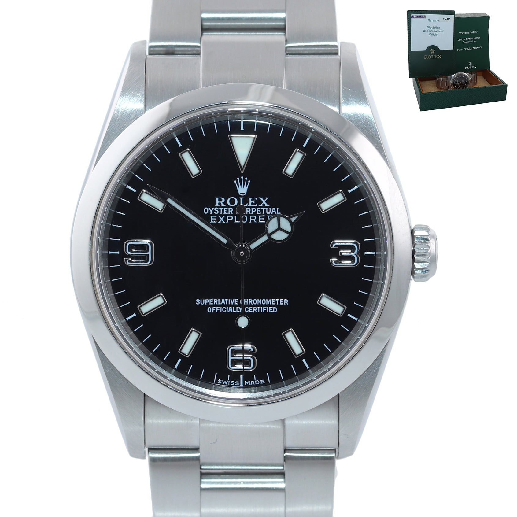 PAPERS MINT Rolex Explorer I Black 36mm 114270 Steel Black Arabic Lume Watch Box