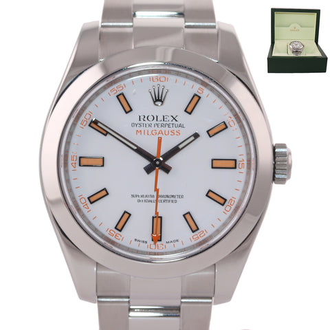 MINT 2016 Rolex Milgauss 116400 White Orange 40mm Steel Anti-Magnetic Watch