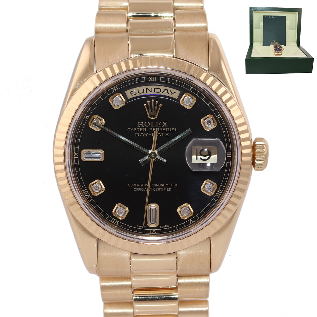 Rolex President Heavy Band 18K Gold Black FACTORY Diamond Dial 118238 Watch Box