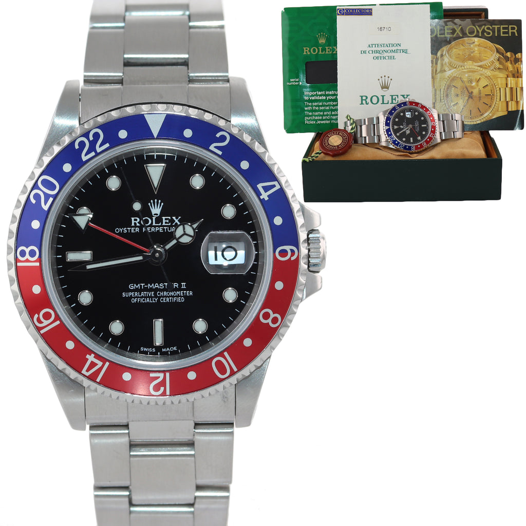2000 PAPERS Rolex GMT-Master 2 Pepsi Blue Red Steel Holes 16710 40mm Watch
