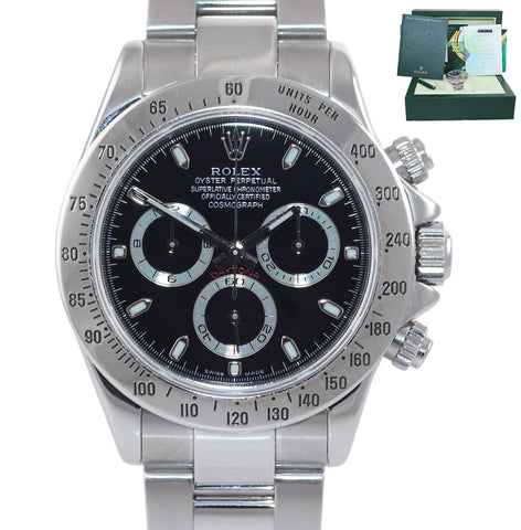 2006 PAPERS Rolex Daytona Cosmograph 116520 Black Steel 40mm Chrono Watch Box