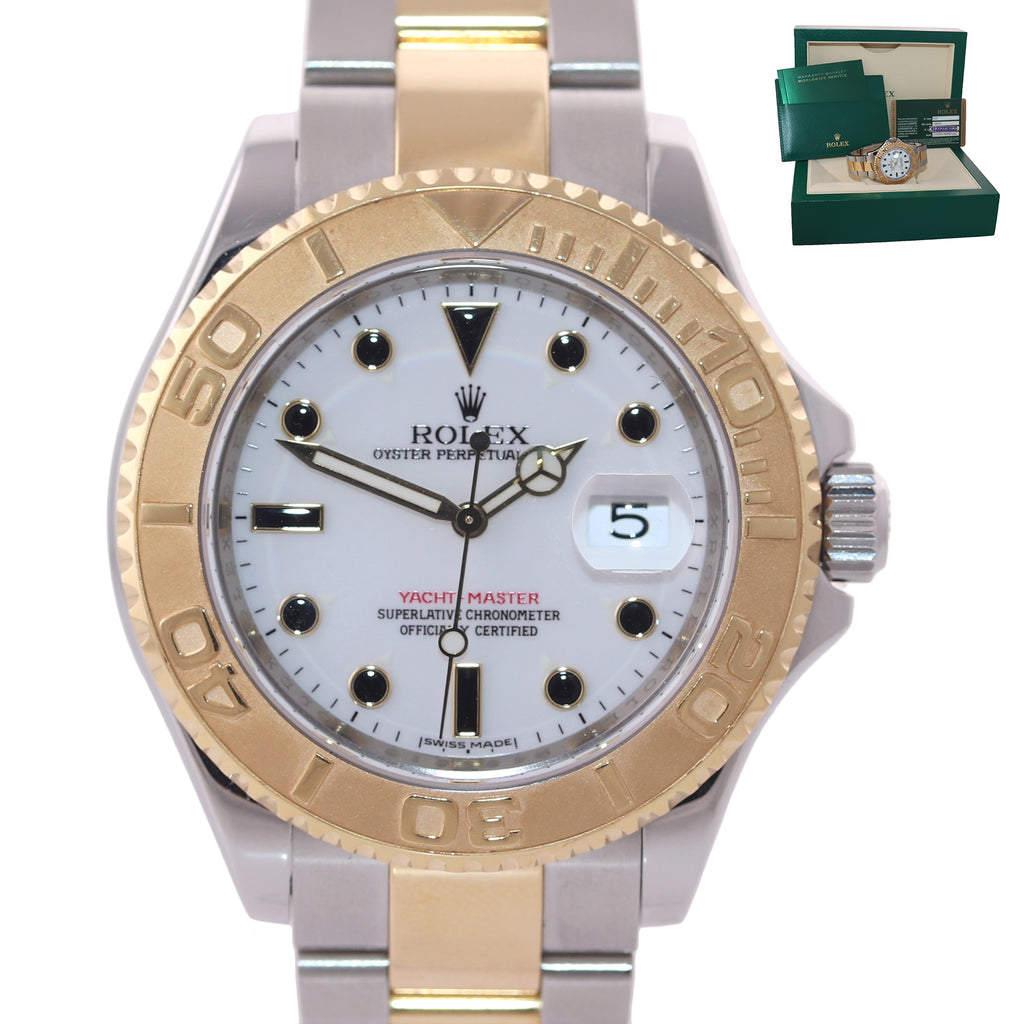 2010 MINT Rolex 16623 Two Tone Gold Steel Yachtmaster White Sapphire Watch