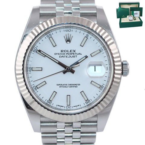 2019 NEW PAPERS Rolex DateJust 41 White Super Jubilee Fluted 126334 Watch Box