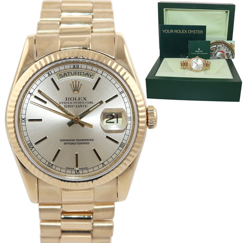 2001 Rolex President 18k Yellow Gold HEAVY BAND Champagne Dial 118238 Watch Box
